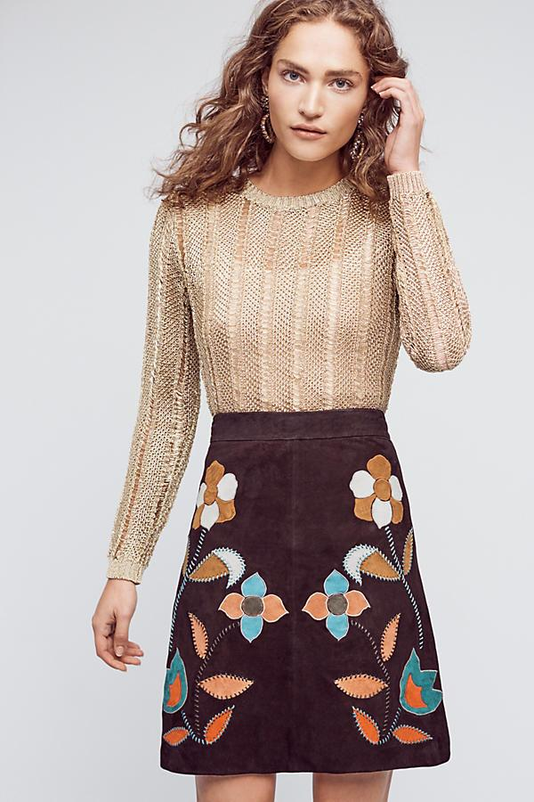 Patchworked Suede Mini Skirt