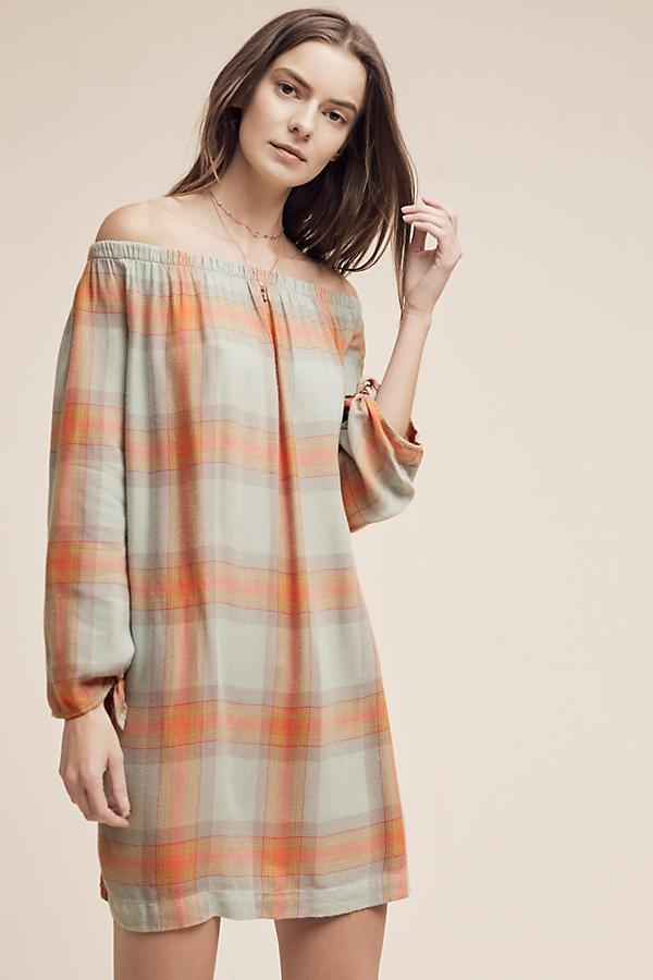 Off-The-Shoulder Plaid Tunic