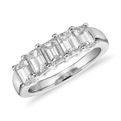 NEW Five Stone Emerald Cut Diamond Ring in 18k White Gold (2 ct. tw.)