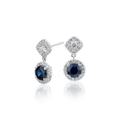 NEW Sapphire and Diamond Mixed Shape Halo Stud Earrings in 14k White Gold (Limited Edition)