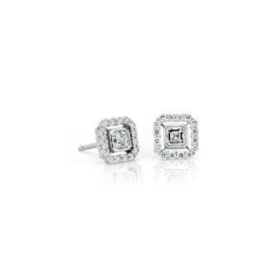 NEW Asscher-Cut Diamond Floating Halo Earrings in 18k White Gold (1/2 ct. tw.) (Limited Edition)