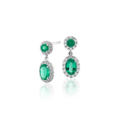 NEW Emerald and Diamond Halo Drop Earrings in 14k White Gold (6x4mm)