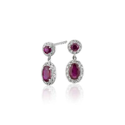NEW Ruby and Diamond Halo Drop Earrings in 14k White Gold (6x4mm)