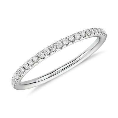 NEW Riviera Petite Micropavé Diamond Ring in 14k White Gold (1/10 ct. tw.)