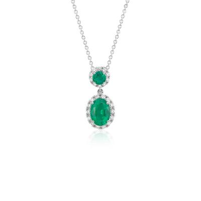 NEW Emerald and Diamond Halo Drop Pendant in 14k White Gold (7x5mm)