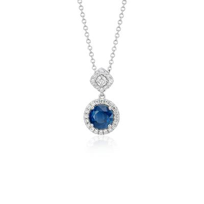 NEW Sapphire and Diamond Mixed Shape Halo Pendant in 14k White Gold (Limited Edition)
