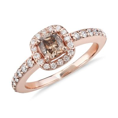 NEW Champagne Halo Diamond Ring in 14k Rose Gold (1 ct. tw.)