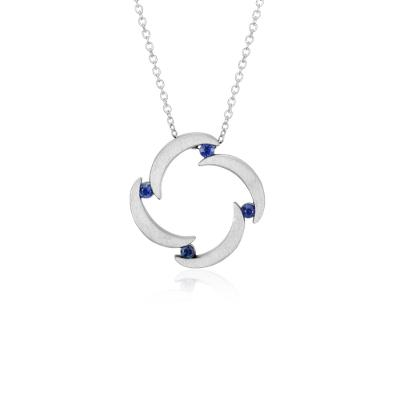 Bree Richey Sapphire Pendant in Sterling Silver (2mm)