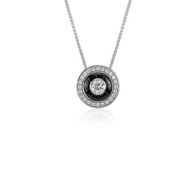 Blue Nile Studio Onyx and Diamond Necklace in 18k White Gold