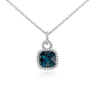 London Blue Topaz and White Sapphire Halo Cushion-Cut Pendant in Sterling Silver (9x9mm)