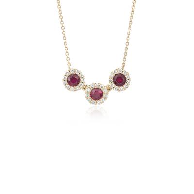 Ruby and Diamond Halo Crown Necklace in 14k Yellow Gold (3.5mm)