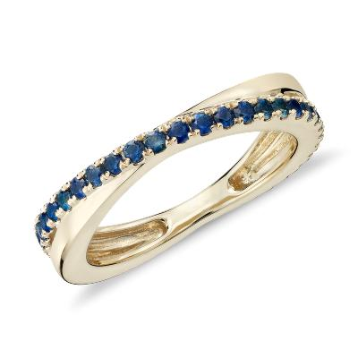 Riviera Pavé Sapphire Infinity Eternity Ring in 14k Yellow Gold (1.5mm)