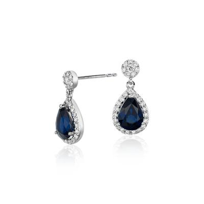 Pear Shape Sapphire and Diamond Halo Drop Earrings in 18k White Gold (7x5mm)