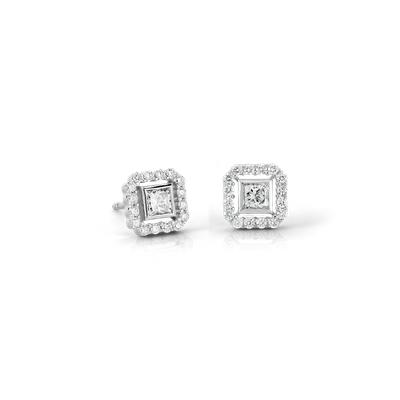 Princess-Cut Diamond Floating Halo Earrings in 18k White Gold (1/2 ct. tw.) (Limited Edition)