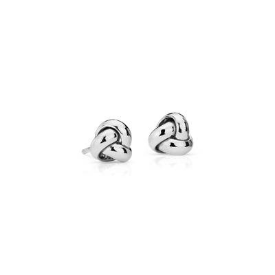 Petite Trio Love Knot Stud Earrings in 14k White Gold (7mm)