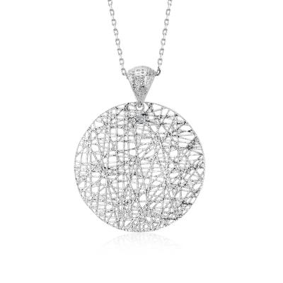 Delicate Long Woven Disc Pendant in Sterling Silver (30)