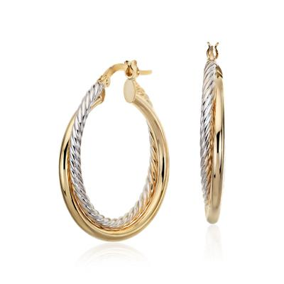 Twisted Hoop Earrings in 14k Yellow and White Gold (1)