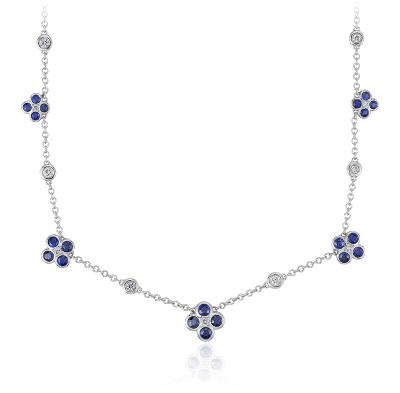Blue Nile Studio Something Blue, Sapphire & Diamond Floral Necklace in 18k White Gold (2mm)