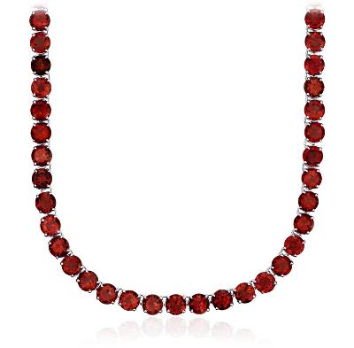 Round Garnet Eternity Necklace in Sterling Silver (5mm)