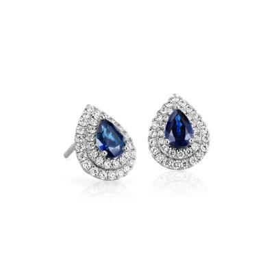 NEW Sapphire and Diamond Double Halo Earrings in 18k White Gold (6x4mm)