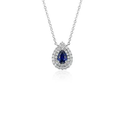 NEW Sapphire and Diamond Double Halo Pendant in 18k White Gold (6x4mm)