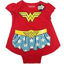 DC Comics Girls Red Wonder Woman Printed Bodysuit with Detachable Satin Cape