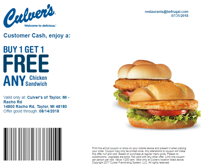 photograph regarding Culver Coupons Free Printable identify 6 Culvers Discount codes Promo Codes Sept. 2019