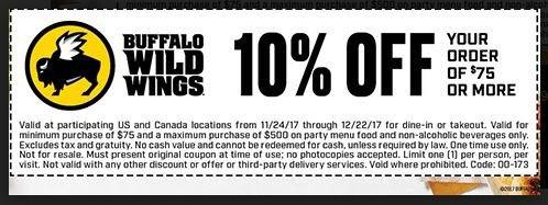 photograph regarding Buffalo Wild Wings Printable Coupons known as 3 Buffalo Wild Wings Discount codes Promo Codes Sept. 2019