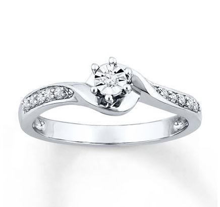 round cut diamond promise ring 115 ct tw sterling silver - Wedding Rings At Kay Jewelers
