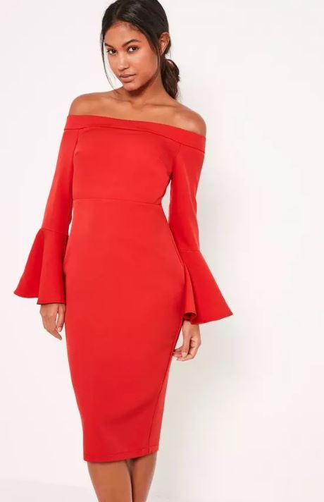 Tailored Red Bardot Midi Dress With Frill Sleeve