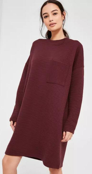 Ribbed Fabric And Pocket Burgundy Sweater Dress