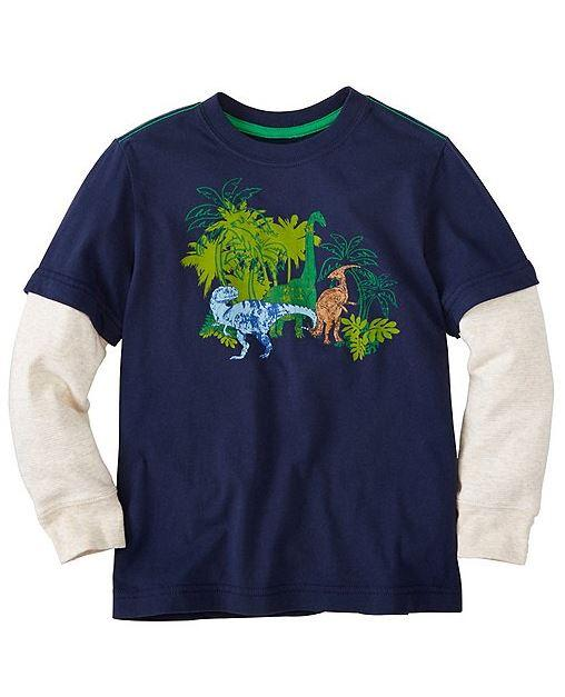 Prewashed Boys Double Sleeve Art Tee In Supersoft Jersey With Sturdy Ribbed Neckband And Cuffs