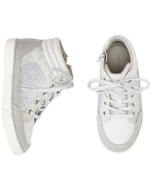 Super-Comfy Girls Ulla High Top Glitter Sneakers By Hanna With Handy Heel Tabs