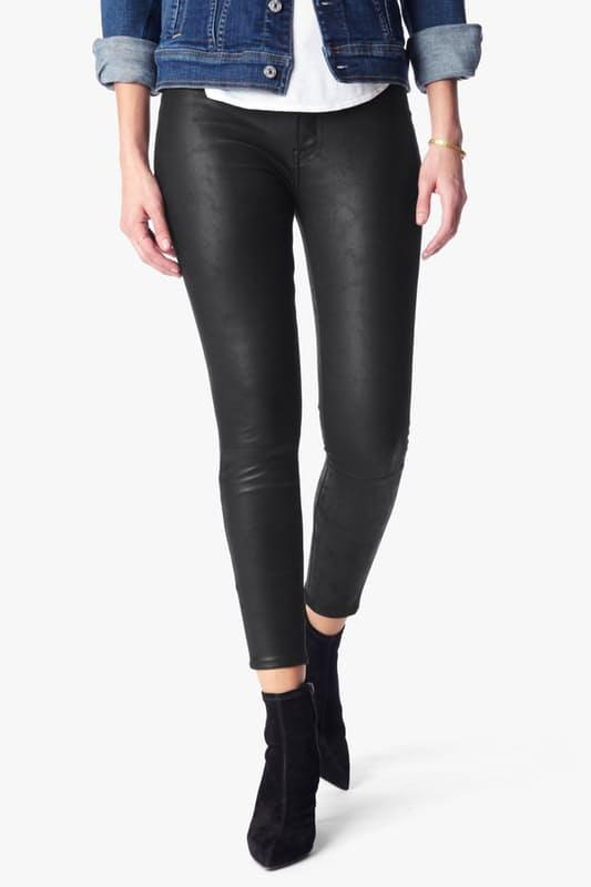 Take 75% Off Black Leather Like Knee Seam Skinny