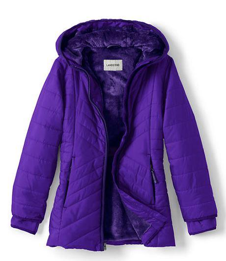 Dark Violet Girls Primaloft Fleece Lined Parka From Land's End
