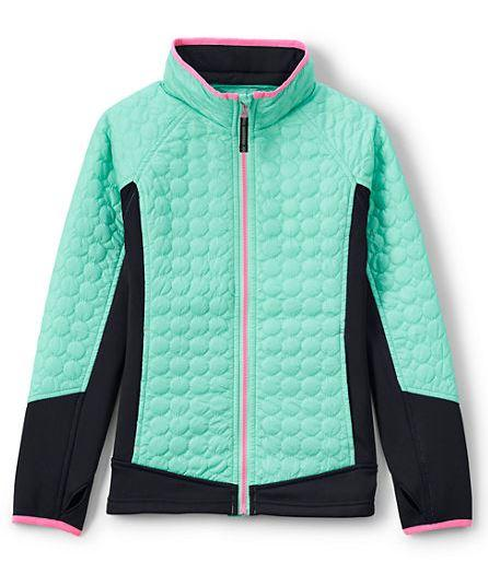 Light Aqua Jade Girl's Primaloft Hybrid Jacket By Lands' End