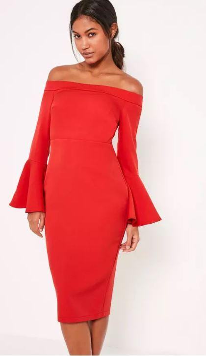 Red Bardot Frill Sleeve Tailored Midi Dress By Missguided