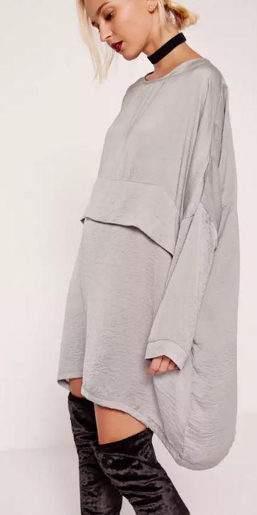 Grey Missguided Oversized Satin Dress