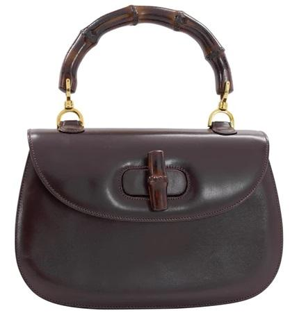 Brown Plain Leather GUCCI Bamboo Handbags