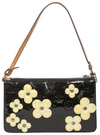 Louis VuittonBlack Handbag With Pastel Yellow Patent Leather Flowers