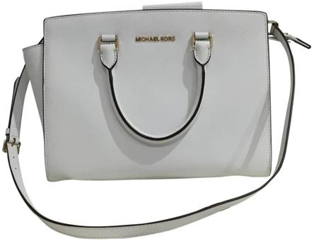 White Leather Selma Handbag By Michael Kors