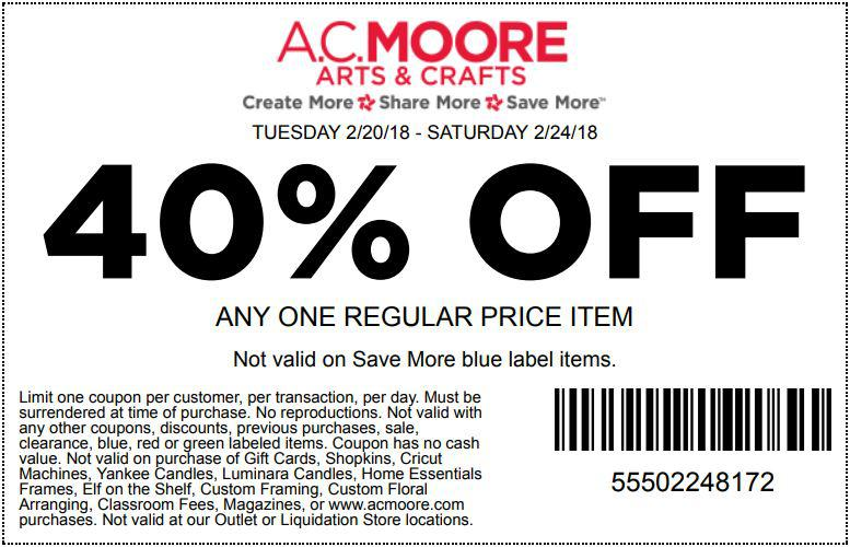 AC Moore accepts coupons from competitors like Hobby Lobby, Jo-Anns and Michaels. See all Arts & Crafts printable coupons. Show Weekly Ad. Used 29, times. AC Moore Weekly Ad. Check out the AC Moore weekly ad to save in-store at the location nearest you. Save Now. Used 25 times.