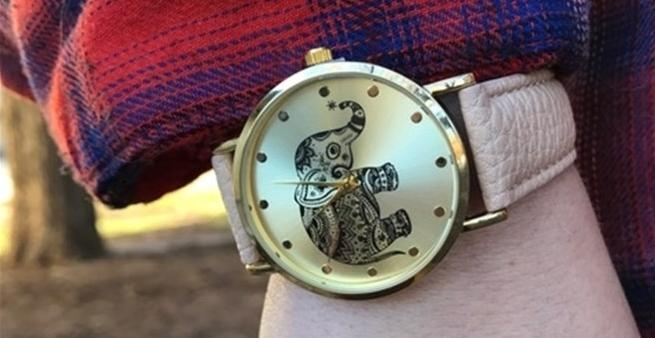 Stainless Steel Tribal Elephant Band Watch Faux