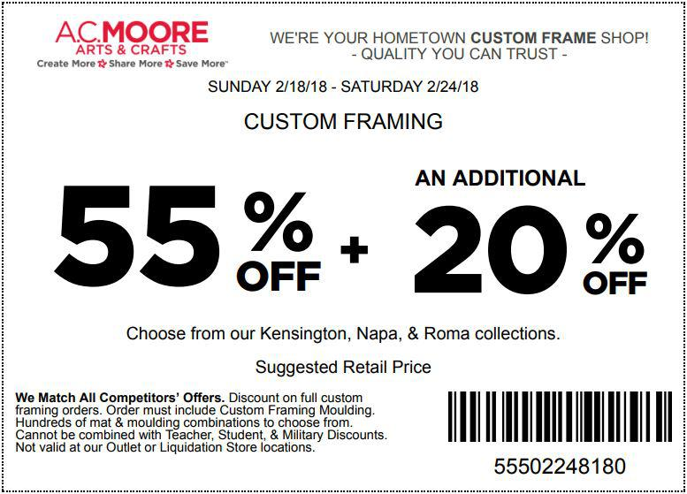 Printable AC Moore Coupon 55 and 40 Off Coupons 2018 - oukas