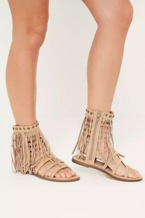 Trendy Nude Tassel Ankle Cuff Gladiator Shoes