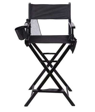 Crafted Professional Makeup Artist Directors Chair Wood Light Weight Foldable Black