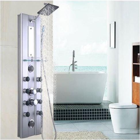 10 Massage Jets Costway 46'' Bathroom Aluminum Shower Panel Thermostatic Tower
