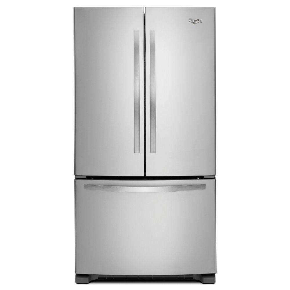 Whirlpool 24.7-cu ft Monochromatic Stainless Steel French Door Refrigerator Ice Maker