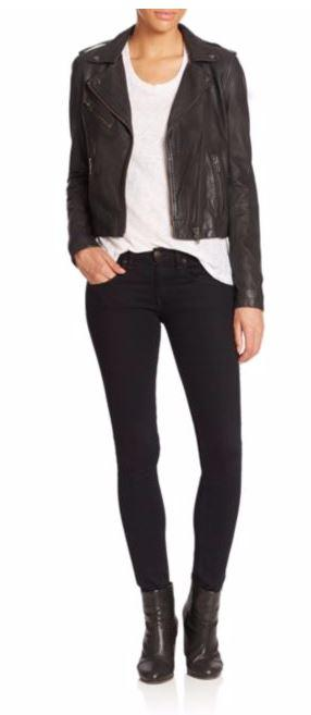 Take 33% Off Doma Long Sleeve Leather Moto Jacket
