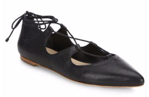 Smooth Leather Loeffler Randall Ambra Leather Lace-Up Flats